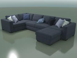 Sofá de esquina (módulo 4 + 9 + 6 + puf)