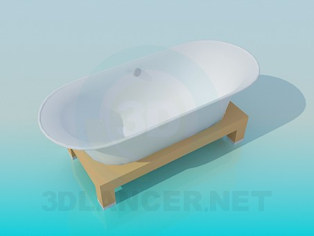 3d modeling Bath on a wooden stand model free download