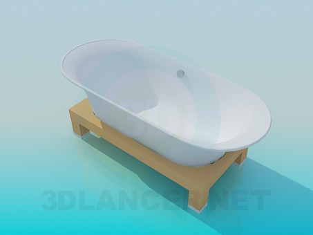 3d model Bath on a wooden stand - preview