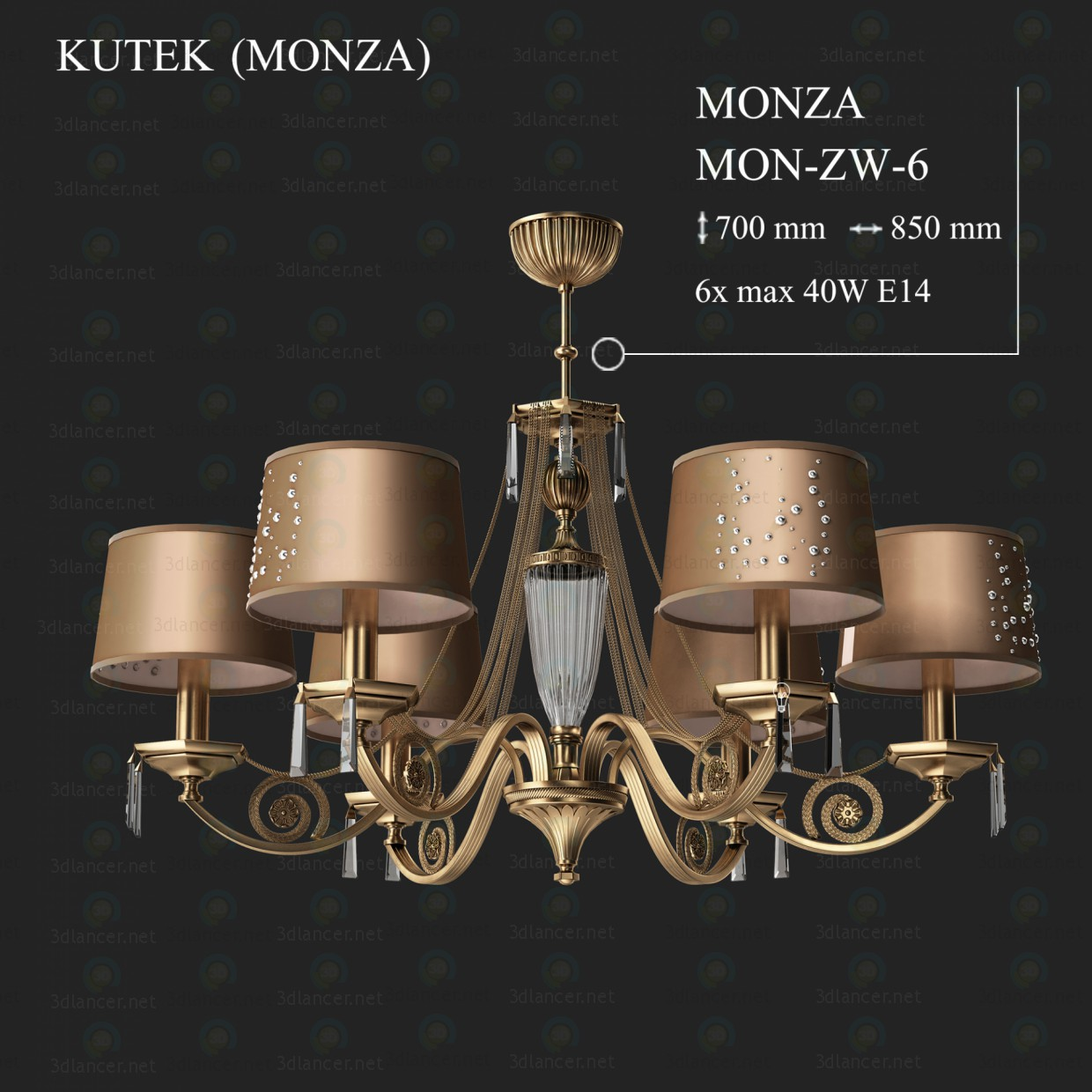 3d model Chandelier KUTEK MONZA MON-ZW-6 - preview