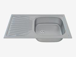 Sink, 1 bowl with draining board - Satin Techno (ZMU 0110)