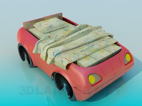 3d модель Кровать машинка – превью