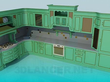 3d modeling Big kitchen set model free download