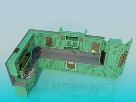 3d модель Большой кухонный гарнитур – превью