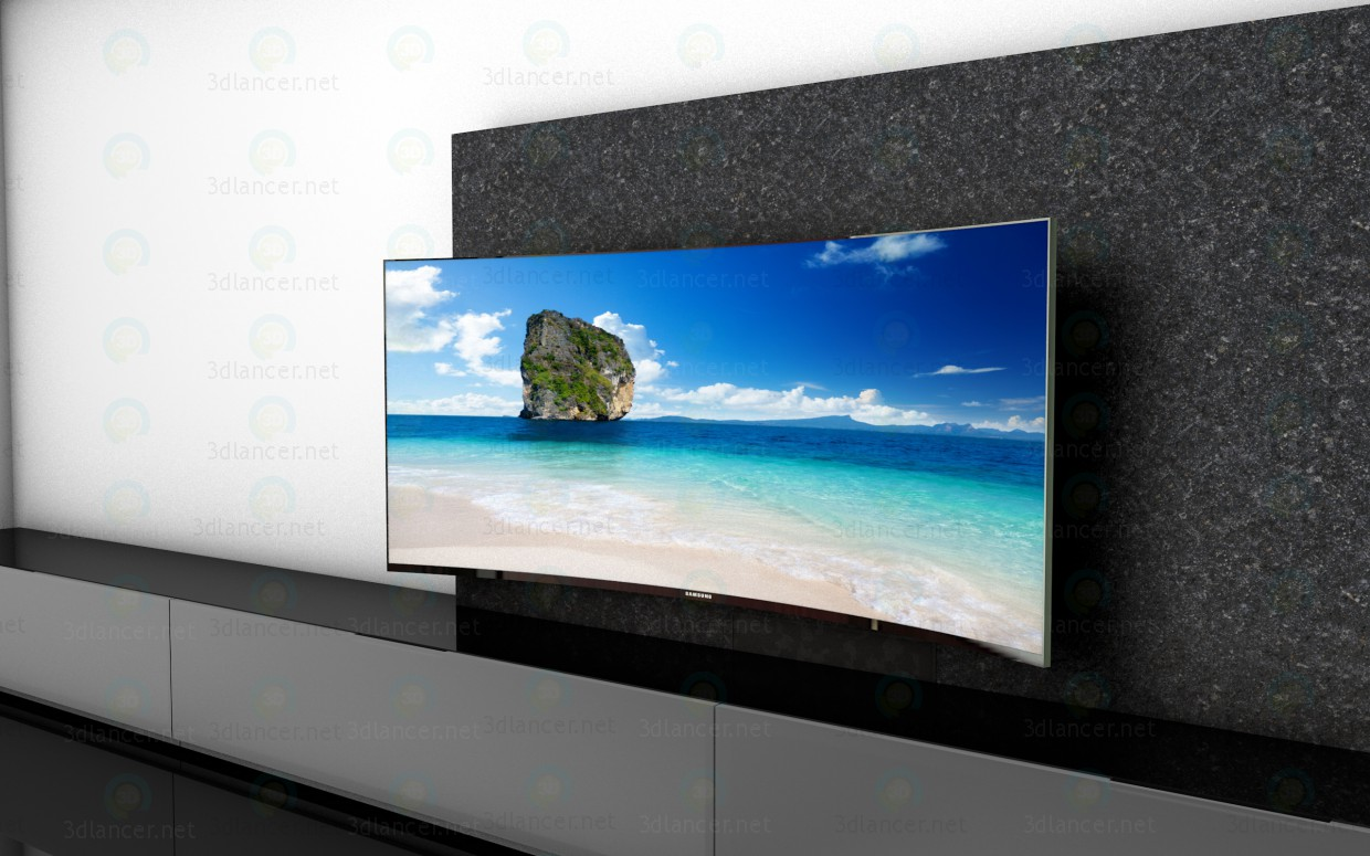 3d model Tv curved 21X9 - preview