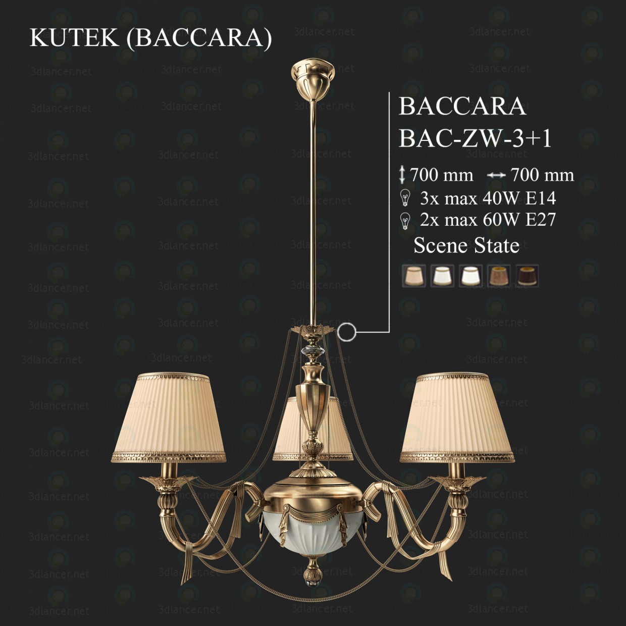 3d model Chandelier KUTEK BACCARA BAC-ZW-3 + 1 - preview