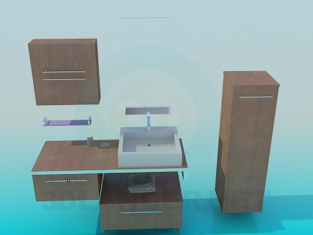 3d modeling Furniture to the sink model free download