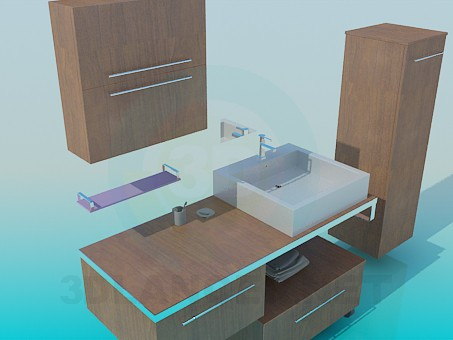 3d model Furniture to the sink - preview