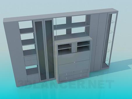 3d моделирование Пристеночный мебельный гарнитур модель скачать бесплатно