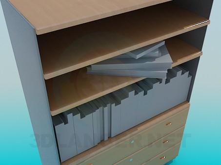 3d модель Шкаф с книгами – превью