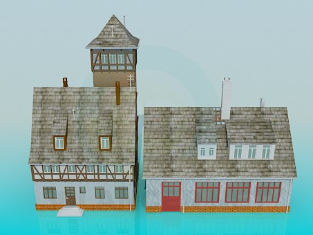 3d model Building a fire station - preview