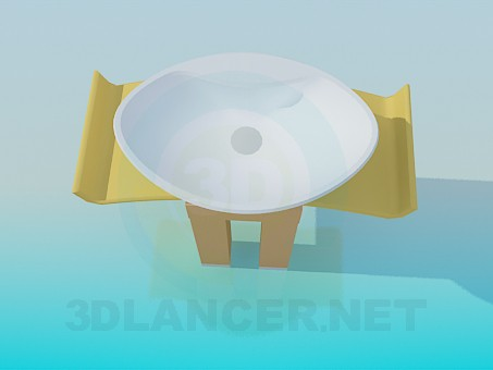 3d model Oval wash basin with curved stand - preview