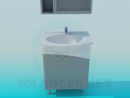 3D Modell Waschbecken mit Schrank - Vorschau