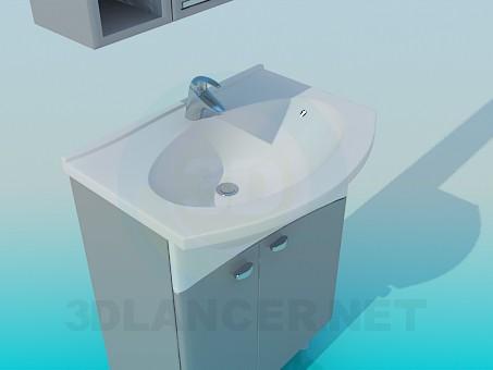 3d модель Умывальник со шкафчиком – превью