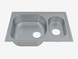 Sink, 1,5 bowls without a wing for drying - satin Xylo (ZEX 0503)