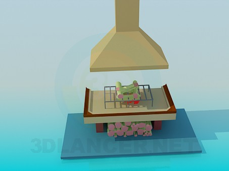 3d модель Відкритий камін – превью