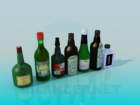 3d model Bottles with alcohol - preview