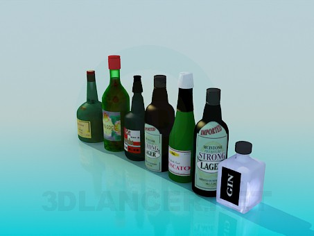 modelo 3D Botellas con alcohol - escuchar