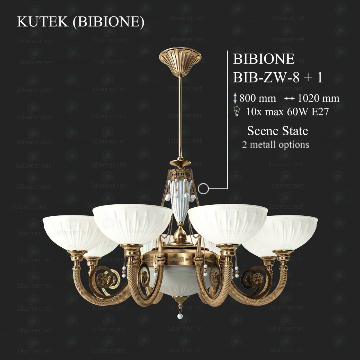 3d modeling Chandelier KUTEK BIBIONE BIB-ZW-8 + 1 model free download
