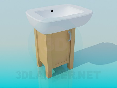 3d model Massive wash basin on a small wooden cabinet - preview