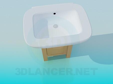 modelo 3D Lavabo de la colada masiva en un pequeño gabinete de madera - escuchar