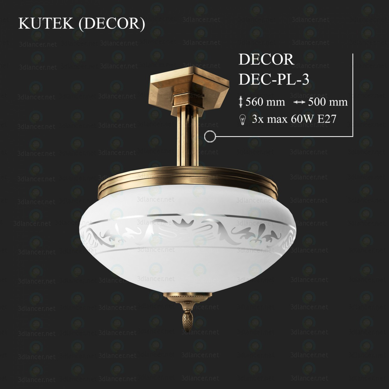 3d модель Люстра KUTEK DECOR DEC-PL-3 – превью