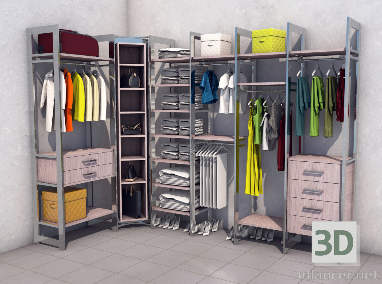 3d model Wardrobe, dressing room in the style of Loft download for ...