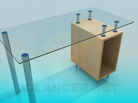3d model Glass computer desk - preview
