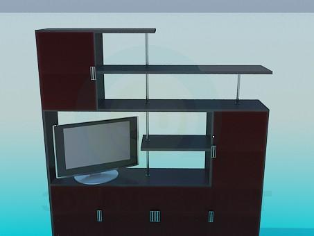 descarga gratuita de 3D modelado modelo Estanterías en la sala de estar