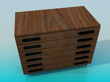 3d model Narrow with narrow chest of drawers - preview