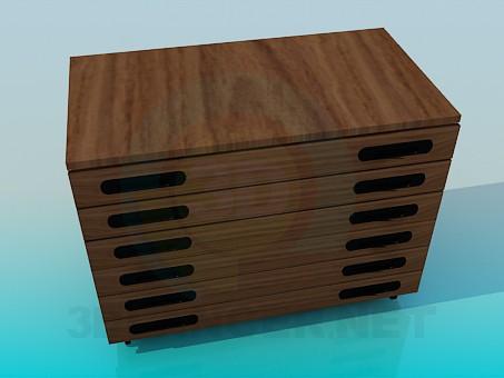 3d модель Комод с узкими ящиками – превью