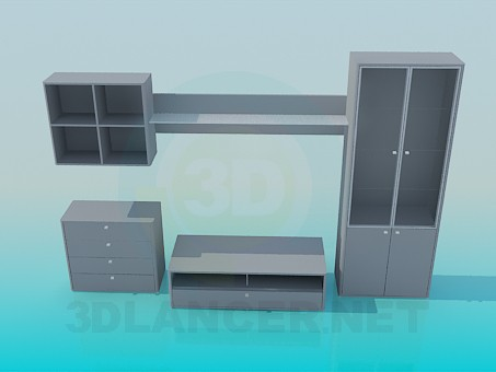 3d modeling Set cabinet, shelf, pedestal, rack model free download