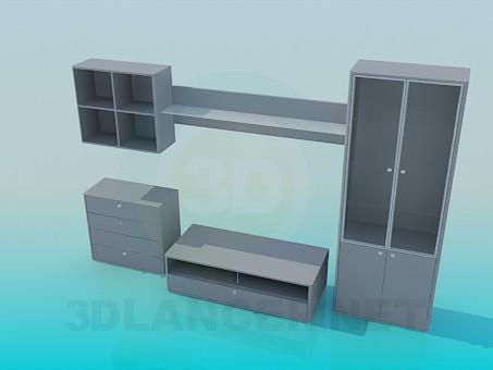 3d model Set cabinet, shelf, pedestal, rack - preview