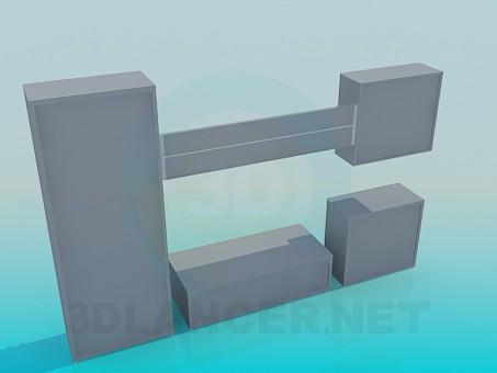 3d модель Комплект шафа, полиця, тумба, підставка – превью