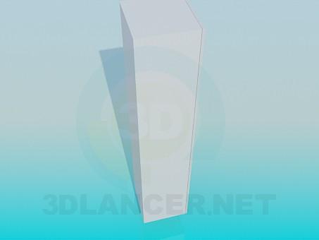 3d модель Узкий шкаф со стеклянной дверкой – превью