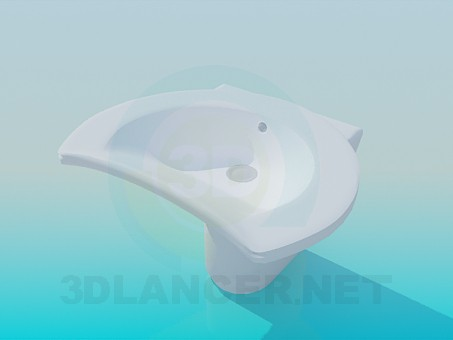 3d model Wash basin in the form of a half-moon - preview