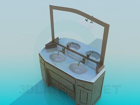 3d модель Умывальник двойной – превью
