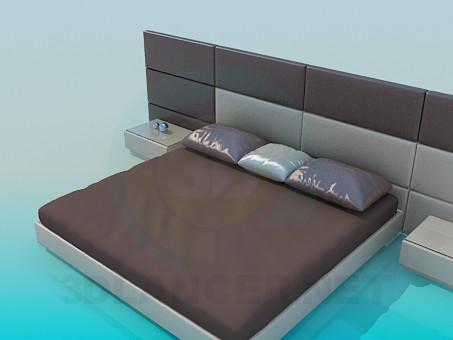 3d модель Кровать с тумбочками – превью