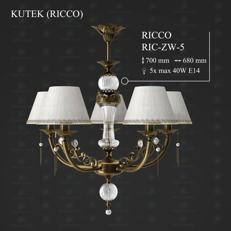 3d моделирование Люстра KUTEK RICCO RIC-ZW-5-A модель скачать бесплатно