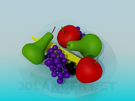 3d model Fruits on a plate - preview