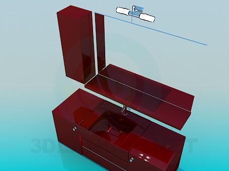 3d модель Тумбы под умывальник – превью