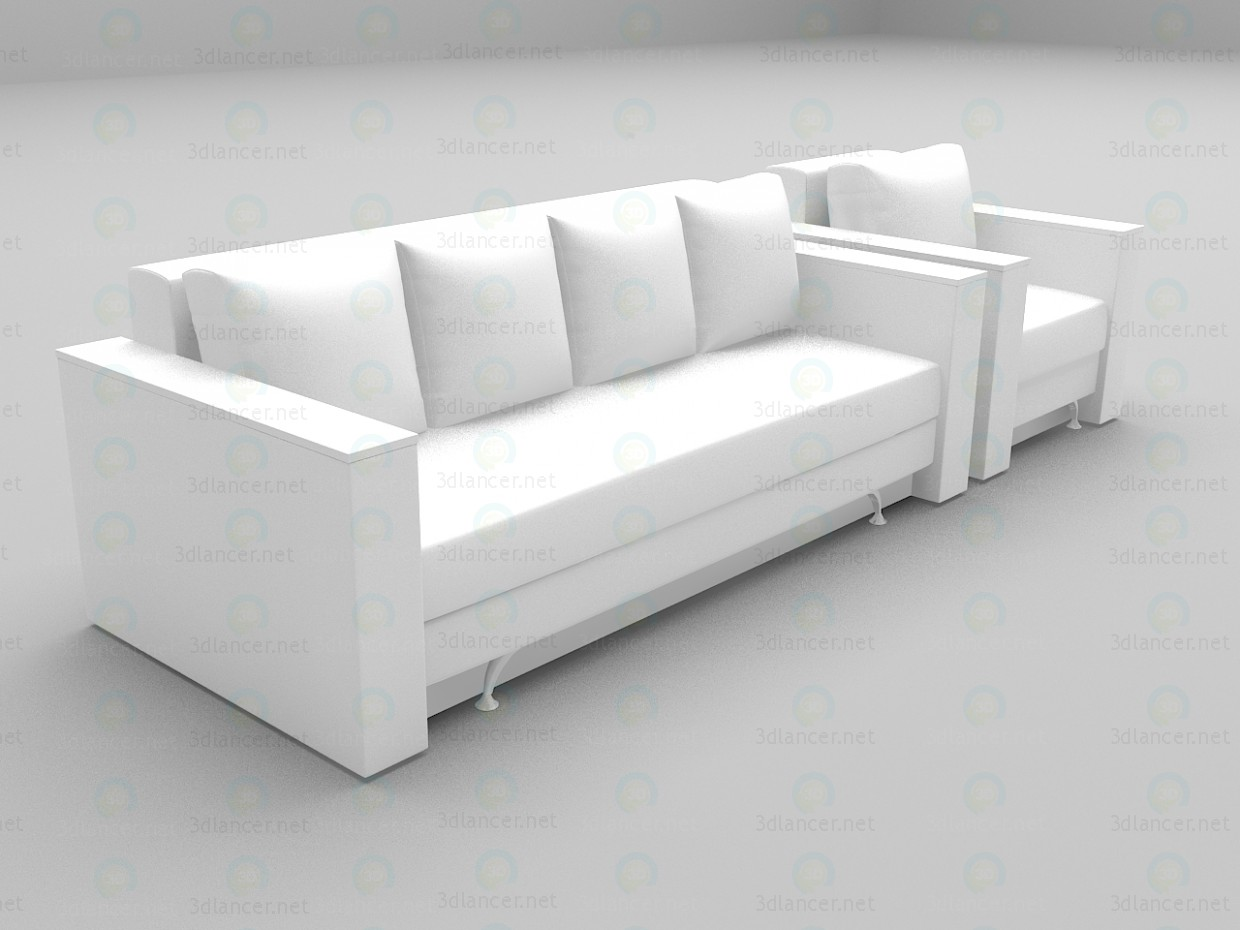 3d model Euro + chair - preview