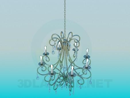 descarga gratuita de 3D modelado modelo Lámpara Chandelier con candelabros