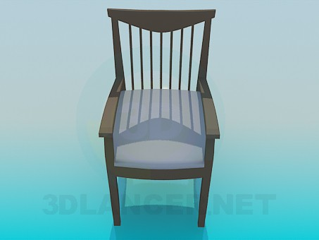 3d model Chair with back with wooden thin switches - preview