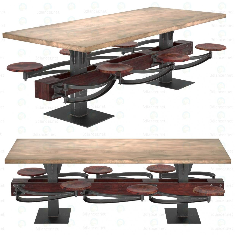 3d ОБЕДЕННЫЙ СТОЛ PERRIN COMMUNAL TABLE LOFT модель купить - ракурс