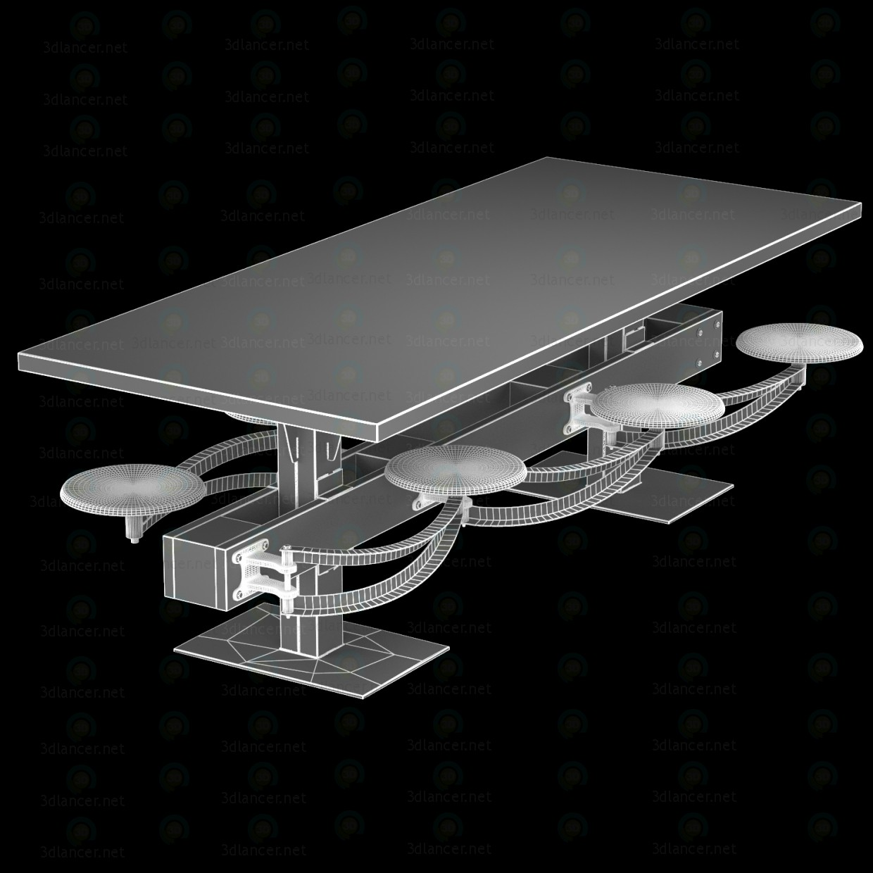 3d DINING TABLE PERRIN COMMUNAL TABLE LOFT model buy - render