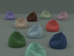 Set di dieci sedie floccato in sacchi di diversi colori