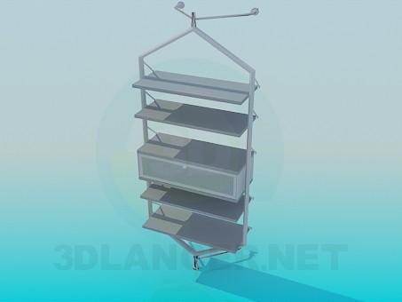3d модель Стенд с полками и ящичком – превью