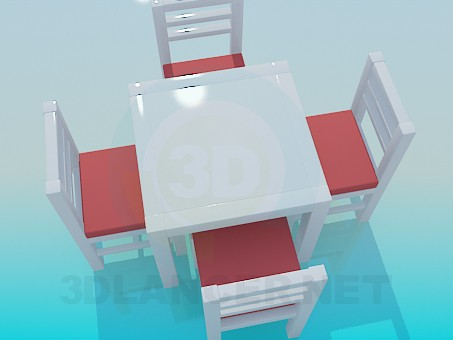 3d model Tea table with chairs - preview