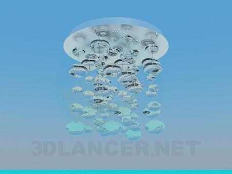modelo 3D Lámpara Chandelier con bolas de cristal - escuchar